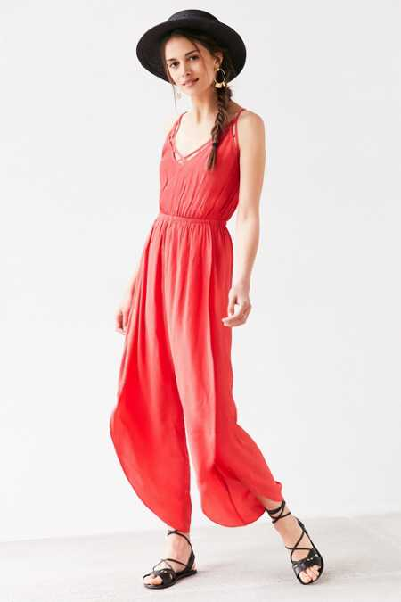 Ecote Lattice Spliced Wide-Leg Jumpsuit