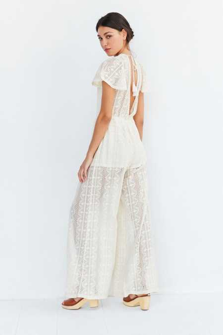 BOG Collective Lace Flutter-Sleeve Jumpsuit