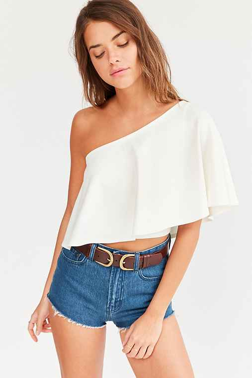 Kimchi Blue Clemence One-Shoulder Top,WHITE,L
