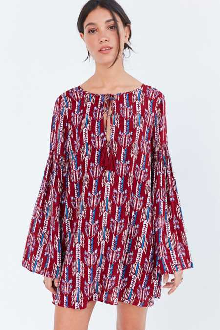 Ecote Split-Neck Frock Dress