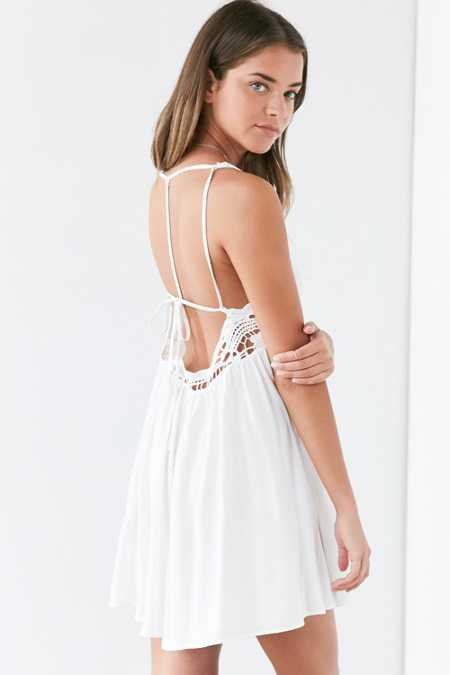 Ecote Crochet Trim T-Back Mini Dress
