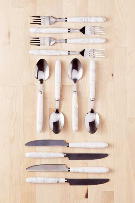 12-Piece Marble Swirl Flatware Set