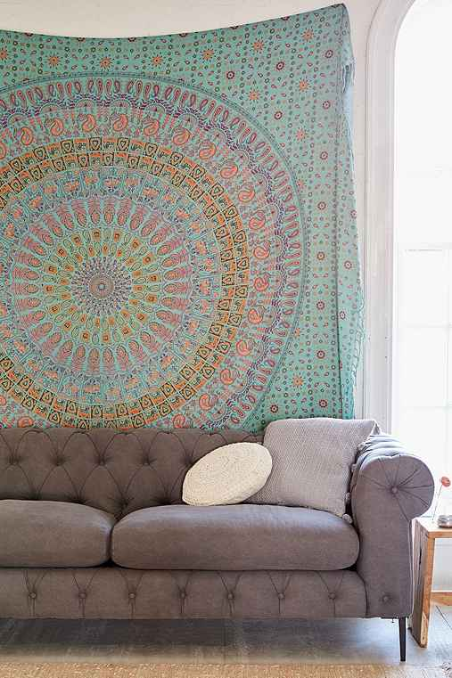 Maina Medallion Tapestry,TEAL,ONE SIZE