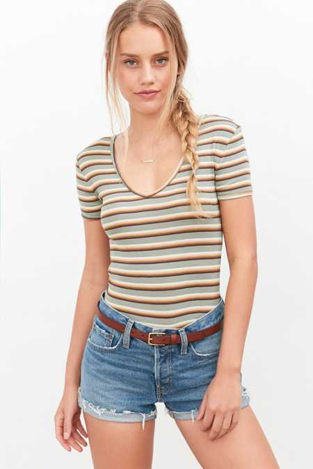 BDG Hazel Striped V-Neck Tee