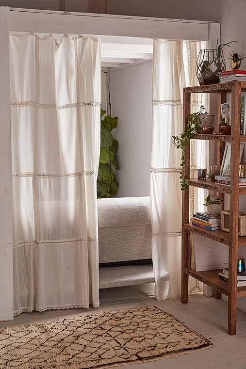 Pieced Crochet Curtain,CREAM,52X84