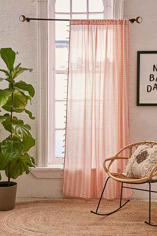 Malou Embroidered Stripes Curtain,CORAL,52X84