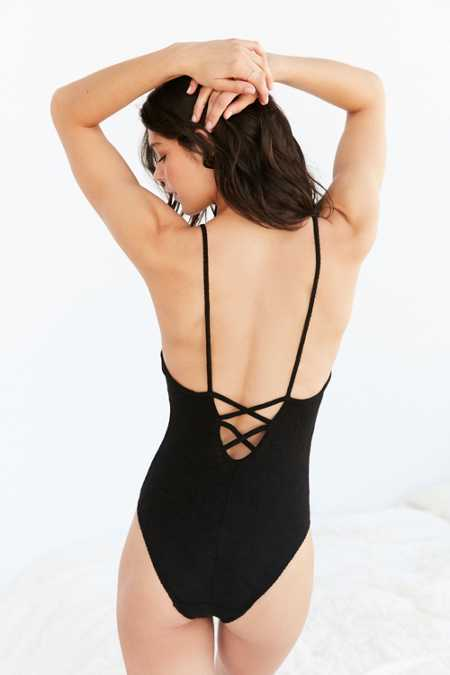 Out From Under Ribbed Lace-Up Bodysuit