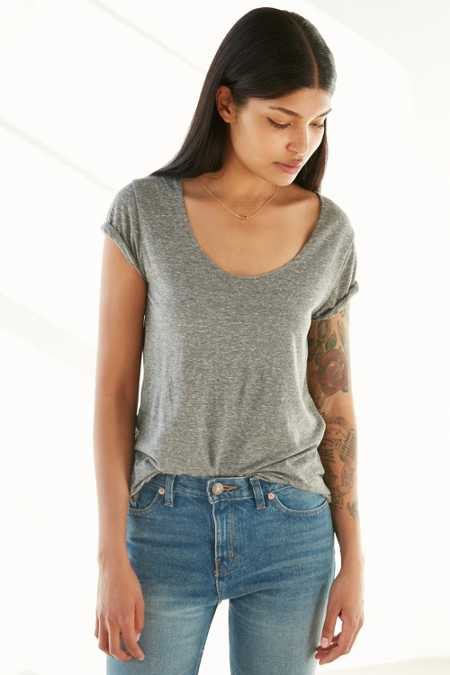 Corner Shop Kid Sister Heathered Scoop-Neck Tee