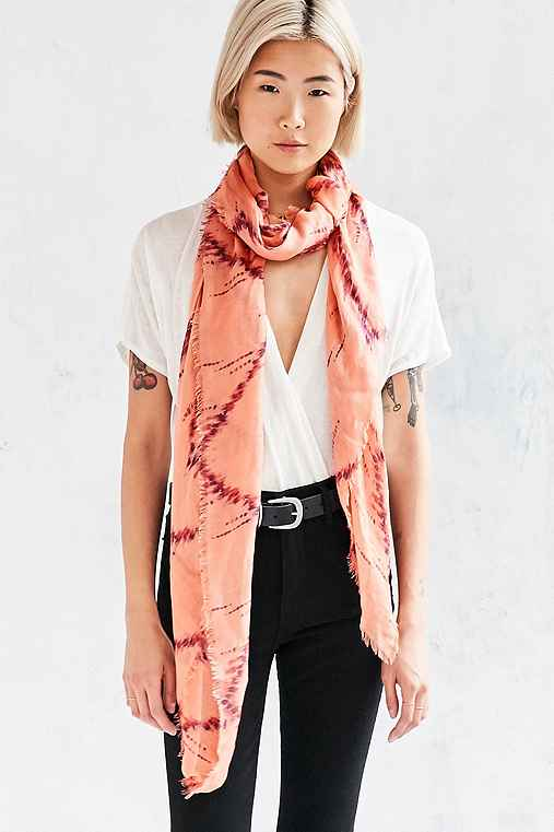 Kimchi Blue Printed Square Scarf,CORAL,ONE SIZE