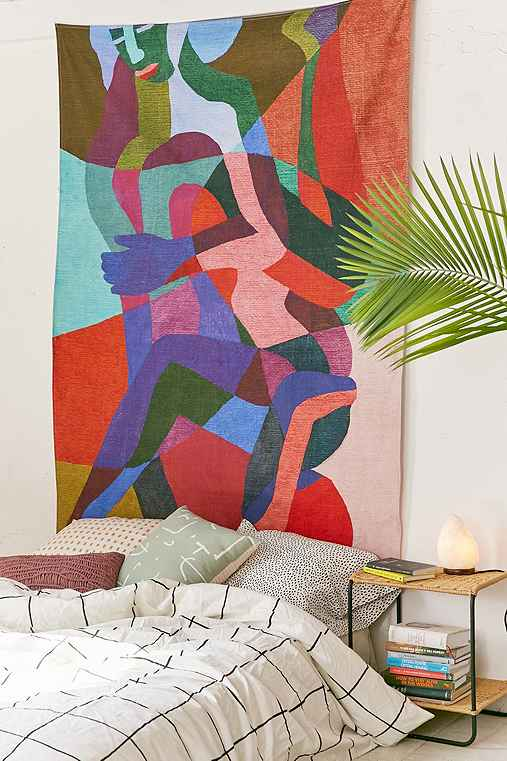 Ines Longevial Abstract Art Tapestry,MULTI,ONE SIZE