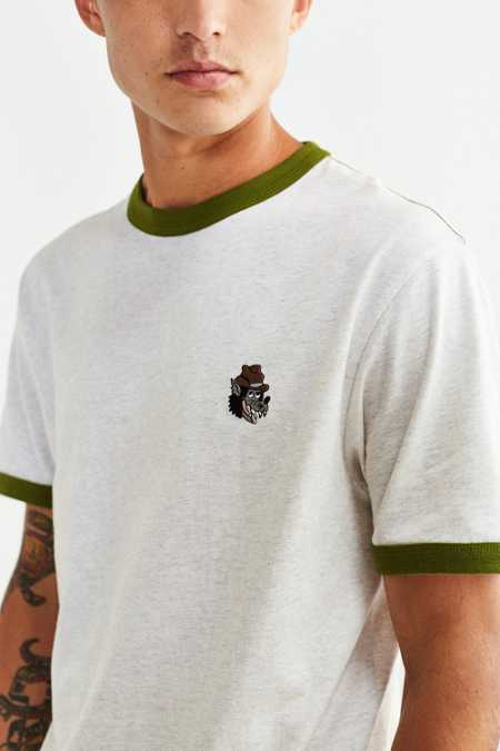 UO Embroidered Wolf Ringer Tee