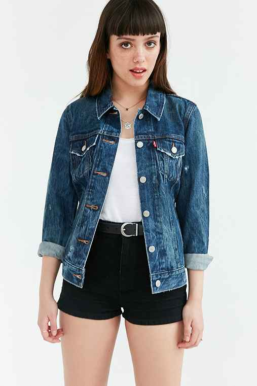 Levi's Blue Woodstock Denim Trucker Jacket,VINTAGE DENIM MEDIUM,M