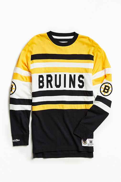 Mitchell & Ness NHL Open Net Boston Bruins Long-Sleeve Tee,YELLOW,M