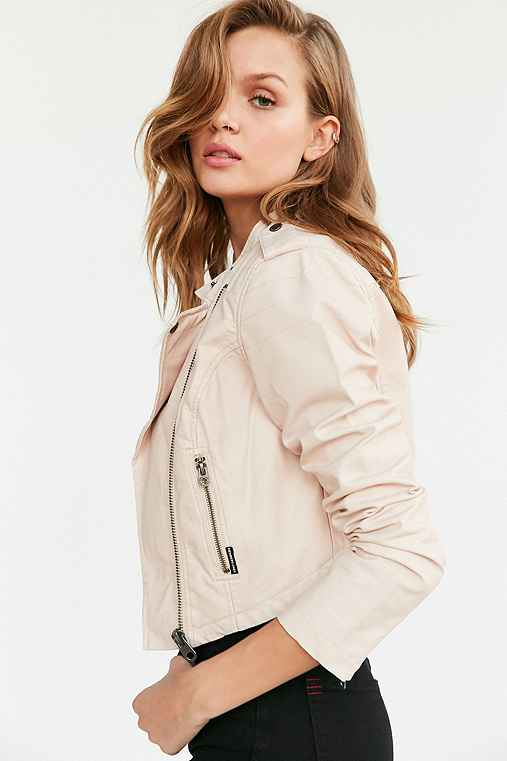 Members Only High/Low Moto Jacket,PINK,M