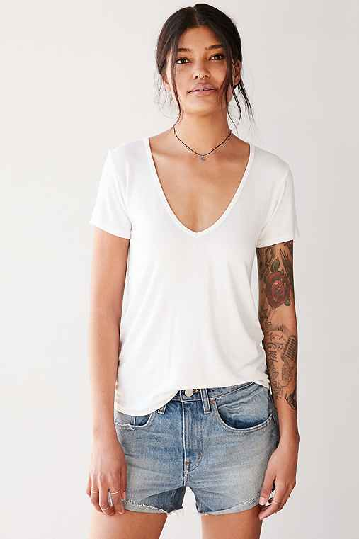 Truly Madly Deeply Cara V-Neck Tee,WHITE,XS