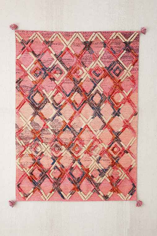 Roma Tufted Woven Rug,PINK,5X7