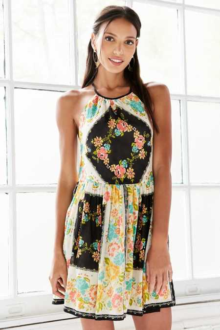 Ecote Bonita High-Neck Print Mini Dress