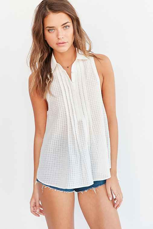 Silence + Noise Meena Button-Down Blouse,IVORY,M