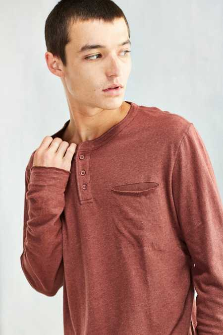 Feathers Cotton Linen Long-Sleeve Henley Tee