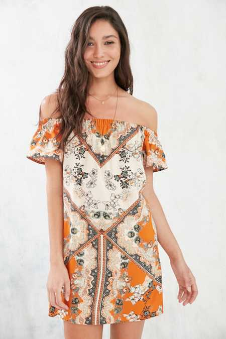 Ecote Off-The-Shoulder Flutter-Sleeve Frock Dress