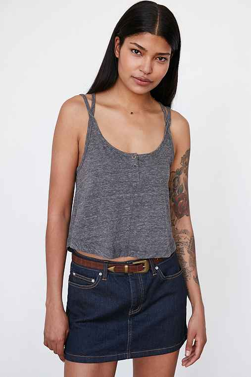 BDG Teeny Placket Tank Top,GREY,XS