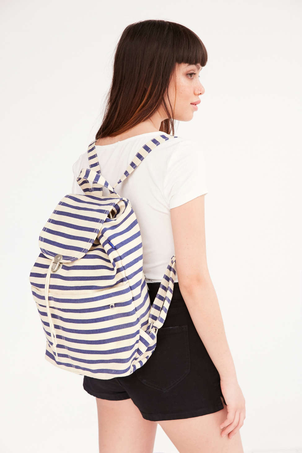 black adn white stripe backpack