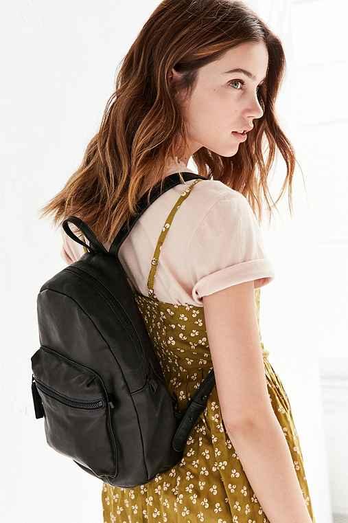 BAGGU Mini Leather Backpack,BLACK,ONE SIZE