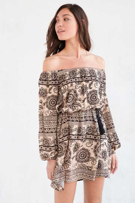 Ecote Printed Off-The-Shoulder Frock Dress
