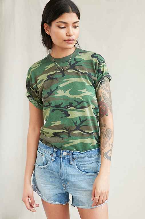 Urban Renewal Recycled Camo Tee,GREEN,M