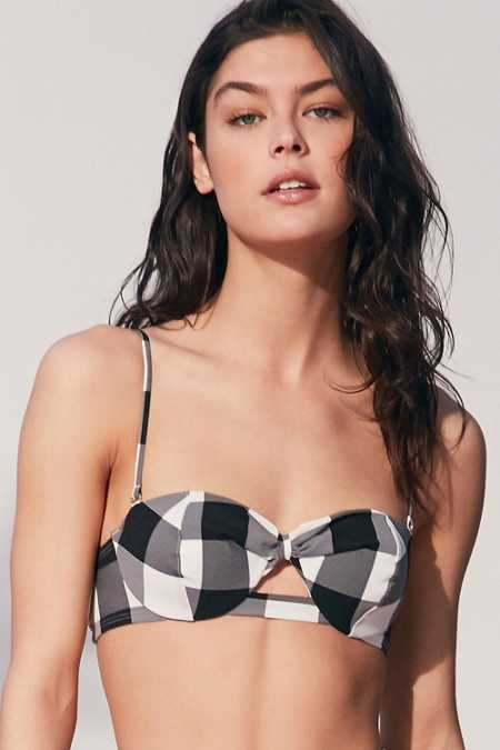 Out From Under Gingham Smocked Bikini Top