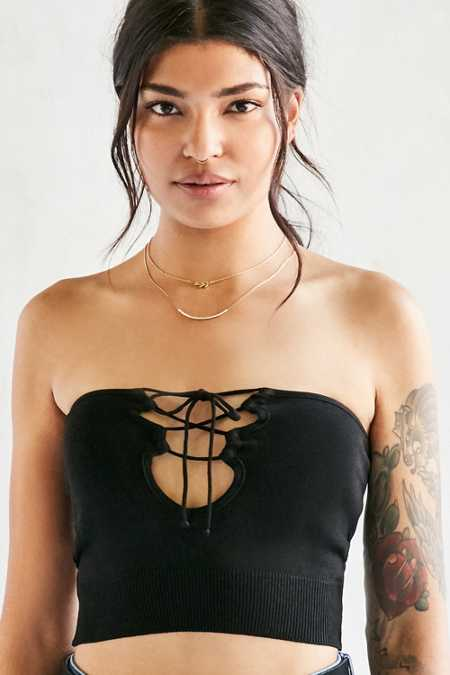 Silence + Noise Alexia Lace-Up Strapless Top