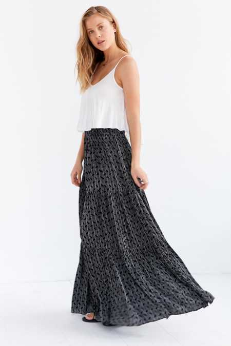 Ecote White Tiger Tiered Maxi Skirt