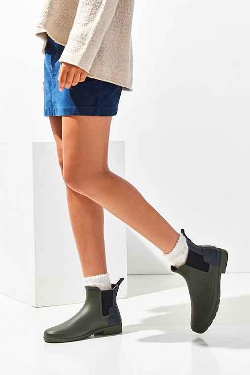 Hunter Original Refined Chelsea Rain Boot,GREEN MULTI,7