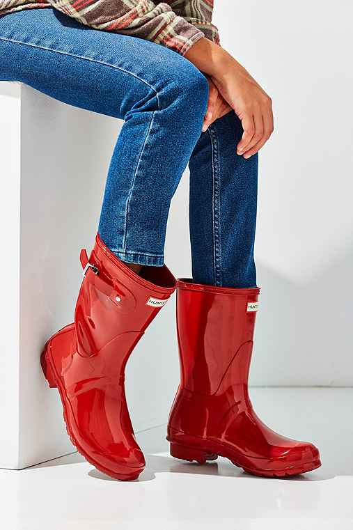 Hunter Original Short Gloss Rain Boot,BRIGHT RED,10