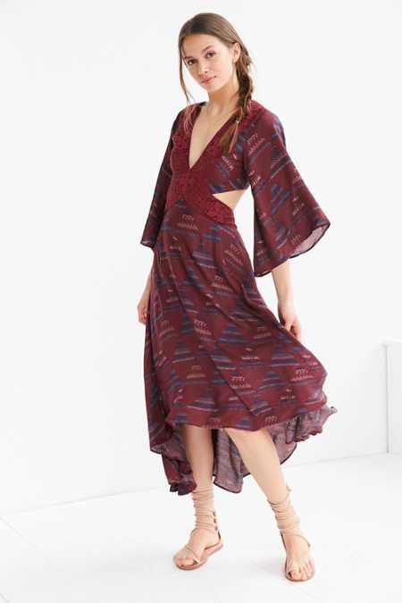 Ecote Printed 3/4 Sleeve Cutout Maxi Dress