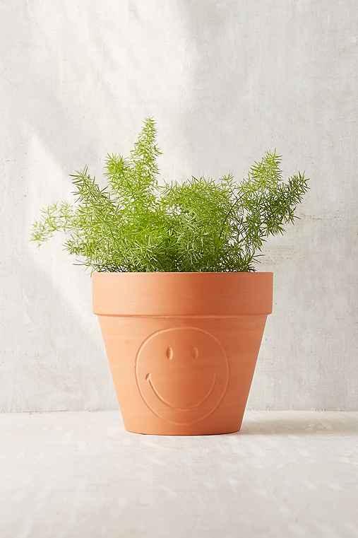 Smile Terra Cotta Small Planter,BROWN,S