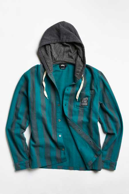 Stussy Hooded Stripe Button-Down Over Shirt
