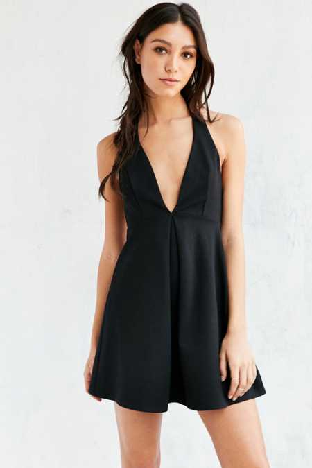 Silence + Noise Ponte Halter Fit + Flare Mini Dress