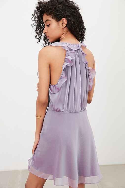 Kimchi Blue Shiloh Chiffon Ruffle Mini Dress,PURPLE,XS