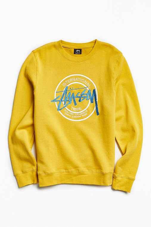 Stussy First Dot Embroidered Crew Neck Sweatshirt,MUSTARD,XL