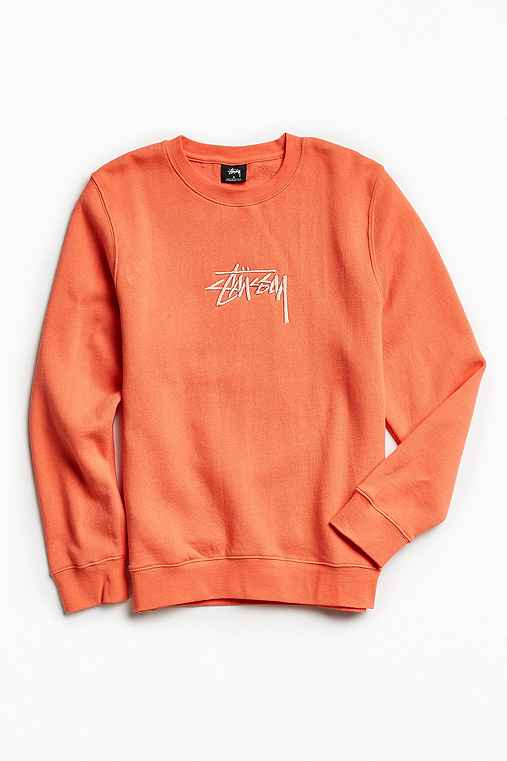 Stussy New Stock Embroidered Crew Neck Sweatshirt,CORAL,L