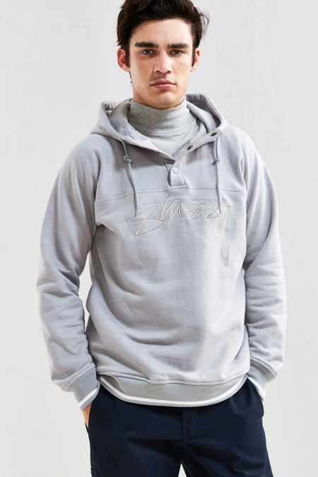 Stussy Herringbone Embroidered Fleece Hoodie Sweatshirt