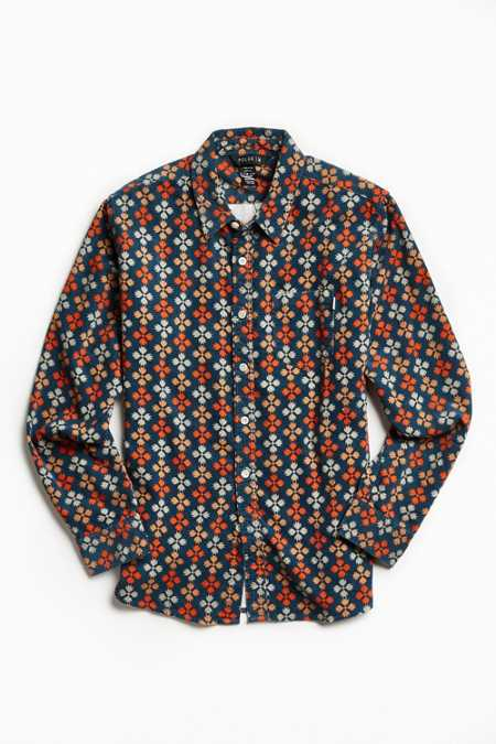 Poler Bear Paw Print Corduroy Button-Down Shirt