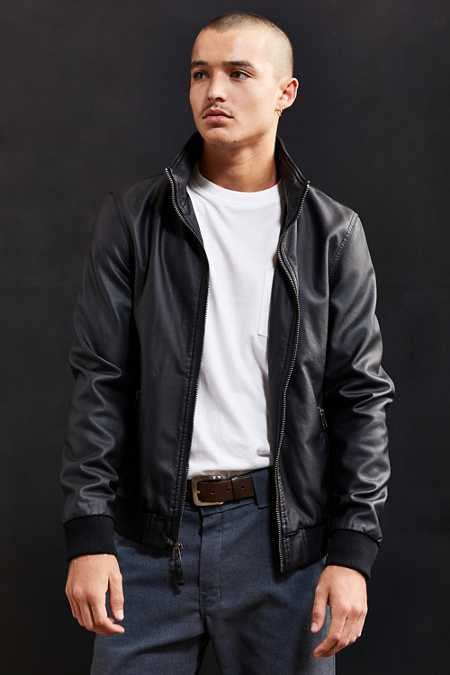 UO Faux Leather Zip Collar Track Jacket