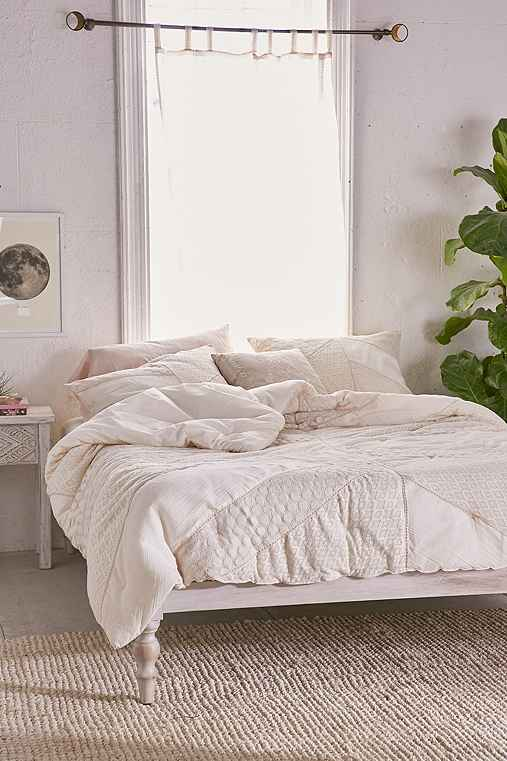Pieced Lace Comforter,CREAM,KING