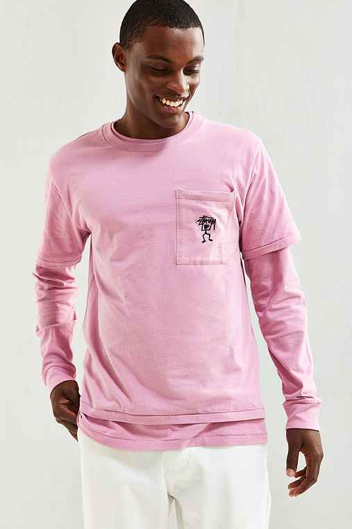Stussy Overdyed Double Layer Tee,PINK,M