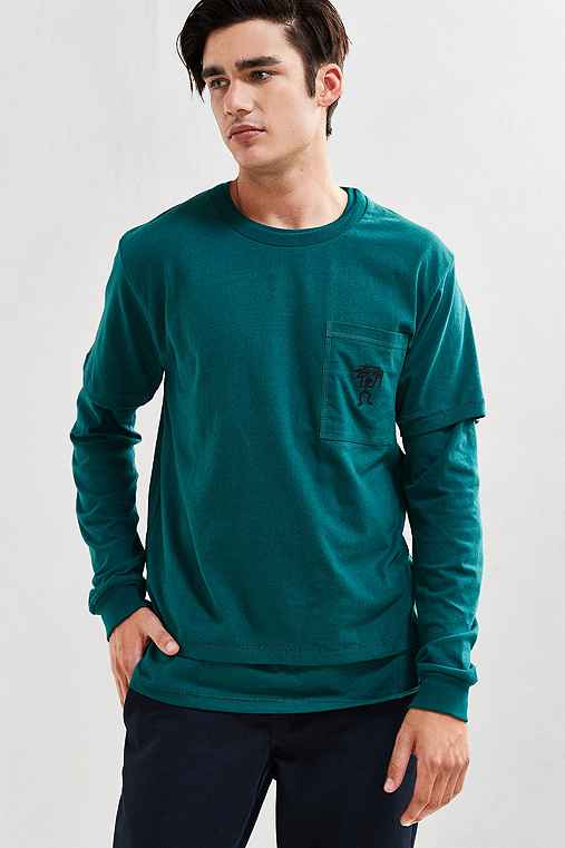 Stussy Overdyed Double Layer Tee,DARK GREEN,M