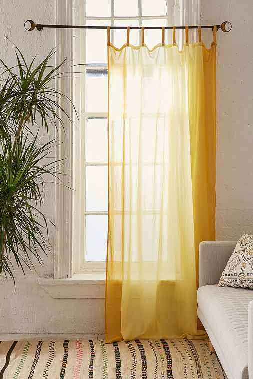Dyed Ombre Border Curtain,YELLOW,52X84