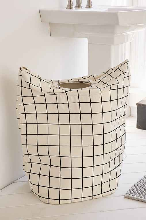 Black + White Grid Hamper,BLACK & WHITE,ONE SIZE