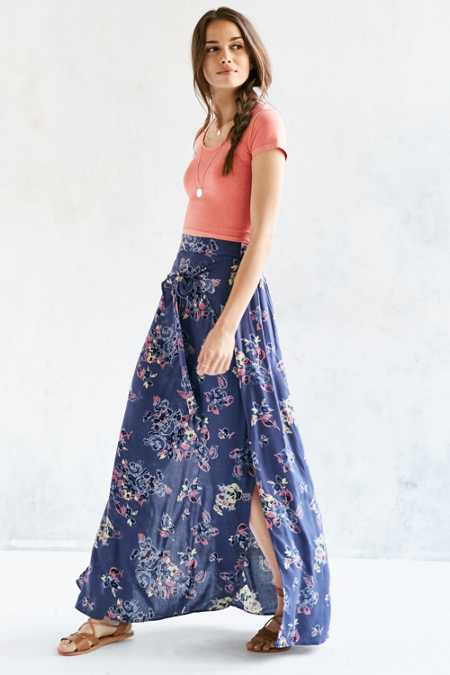 BOG Collective Floral Wrap Tie Maxi Skirt